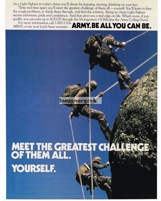 1988 US Army Recruiting Recruitment Light Fighters Rappeling Cliff Vtg Print Ad
