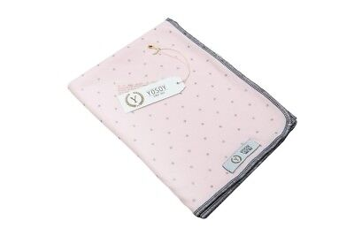 Light Cotton Baby Blanket by YOSOY; throw blanket, cover, muslin - pink & sliver