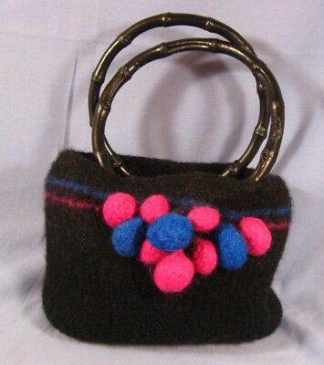 Hand Felted Wool Purse Bag Pocketbook  Bamboo handle in A+ condition WOW