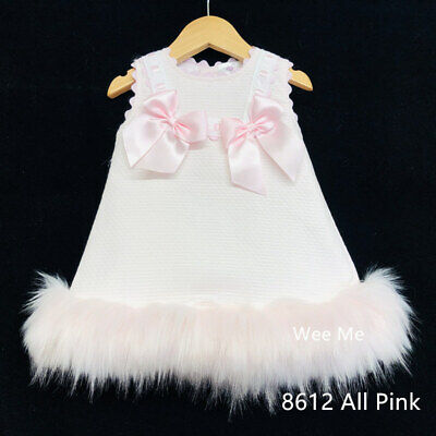 *AW17* New Winter Wee Me Baby's Girl Pink Spanish Dress with Fur Trim/Romany