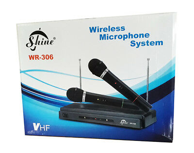 NEW Wireless Twin Microphone System Set WR-306 Karaoke Receiver Dual 2 x Mic UK