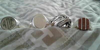 sterling silver rings 8.5 lot of 4