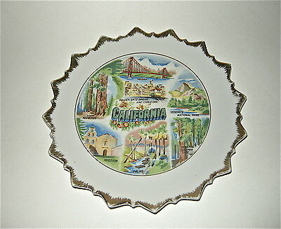 """CALIFORNIA & HOLLYWOOD collectible china plates, Vintage bonded pair, 8"""" wide"""