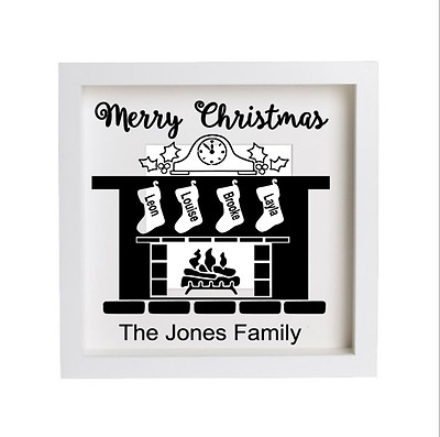 Personalised Christmas Fireplace Frame/ Block Vinyl Decal /Sticker