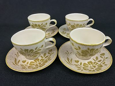 Red Wing Pottery Damask FOUR Cups and Saucers