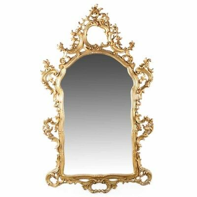 French Antique Louis XV Style Giltwood Carved Wall Pier Mirror