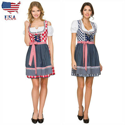 US German Ladies Dirndl Trachten Dress Oktoberfest Bavarian Beer Girl Costume