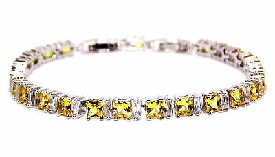 Silver Yellow Sapphire And White Topaz 11ct Tennis Bracelet