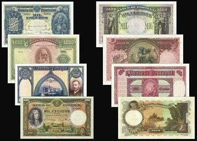 !copy! Lot Of 4 Portugal 1000 Escudos 1920,22,27,32 Banknotes !not Real!