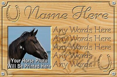 Personalised Horse Plaque, Metal with photo, Stable Door, Pony, 9x6 inch