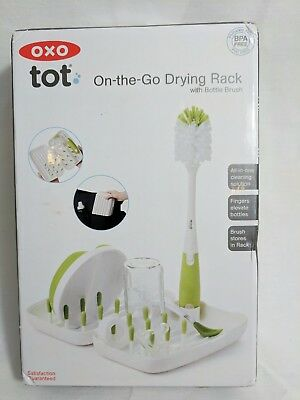 OXO Travel Bottle Cleaning kit brush case rack green soft mini
