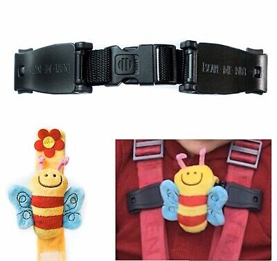 Twin Pack- 2  X Universal Buggy Buddy Chest Clip BEE 🐝 Strap Stops Your Escapee