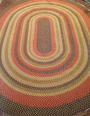 Vtg Room Size 11x15' OVAL BRAIDED Area RUG Wool Brown Green Black Tan Gold Red