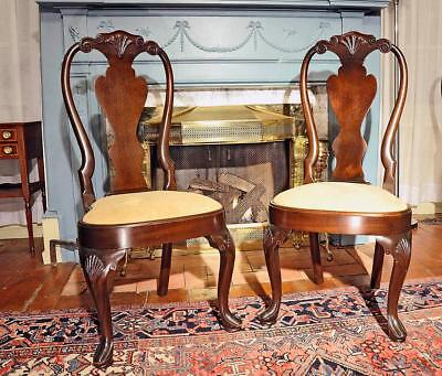 6 Vintage Williamsburg type Kindel Mahogany Dining Chairs Chippendale Queen Ann