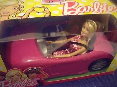 BNIB Barbie Pink Convertible Car & Doll Play Set