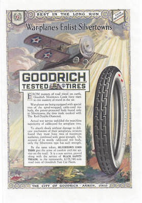 1918 Color Magazine Ad, Goodrich Tested Tires. Silvertown Cords. Akron, Ohio