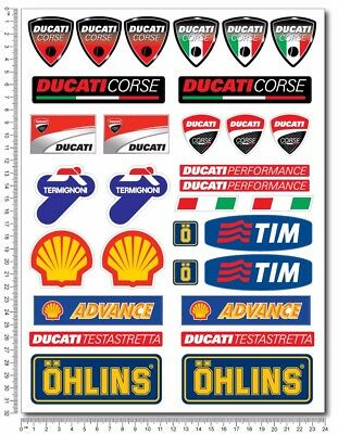 Ducati Corse motorcycle decals stickers set shell ohlins tim termignoni sponsor