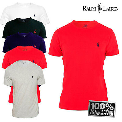Ralph Lauren Polo Crew Neck Custom Fit Short Sleeve T Shirt NEW S M L XL Mens