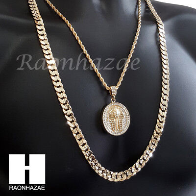 "Men Iced Out King Tut Rope Chain Diamond Cut 30"" Cuban Link Chain Necklace S067"