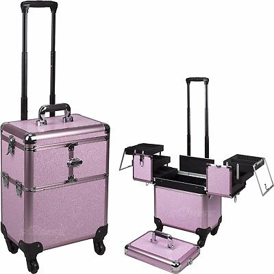 SUNRISE Professional Makeup Case C6304 Aluminum, 3 tiers, Locking with Mirror