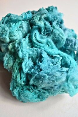 Mulberry Silk Noil Fibre Needle Felting Spinning Hand Dyed Aqua Blue 20g 11787
