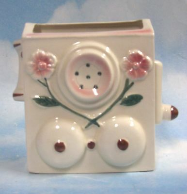 Wallpocket OLD-STYLE TELEPHONE pottery PINK FLOWERS