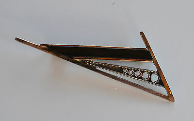 XL Art Deco signed handmade silver & black onyx Modernist Abstract BROOCH PIN