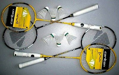New Carlton Badminton Set 4 Players Set 4 Rackets & 6 Shuttlecocks 2 Carry Bags