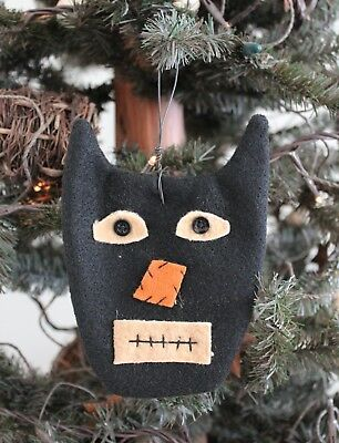 Fabric Black Cat Ornament - Set of 4
