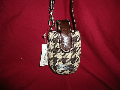 Longaberger Brown Houndstooth Flip Phone Case--new with tags--SALE!!