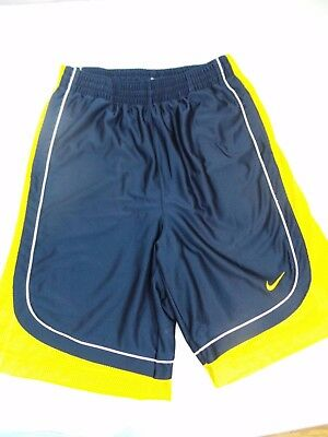 Nike - Men's Dri-Fit Shorts - Navy Blue and Yellow -  Lined - Size M