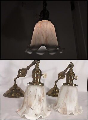 2 Antique Brass Slag Glass Pendant Light Fixtures Mission Chandelier Arts Crafts
