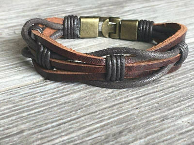 Brown Leather Braided Bracelet, Secure Metal Clasp, Father's Day Gift CS-2