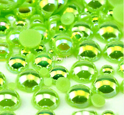 800 Pc AB Lime Green Flatback Round Half Faux Pearls Beads DIY Crafts Nail Art