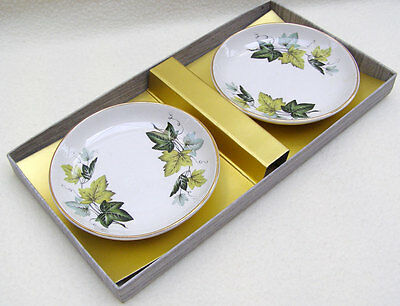 Pair of vintage Myott pin dishes in Ivy Leaf pattern