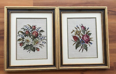 Two Floral Bouquets Needlework - framed and matted (331)