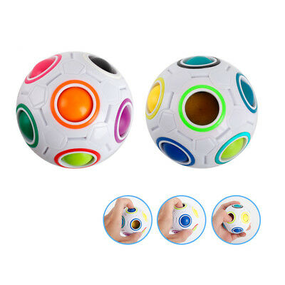 Magic Cube Puzzle Ball Shaped Twist Toy Rainbow and White Spherical Creative
