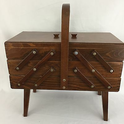Vintage Accordion Fold Out 3 Tier Wood Dove Tailed Sewing Craft Box Med Stain