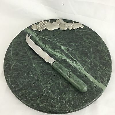 Green Marble Cheese & Fruit Platter Tray Board with Knife and Metal Detail 10""