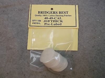"""Bridgers Best Lubed Shooting Patches 40-49 Caliber .010"""" Thick Stock # 4010L"""