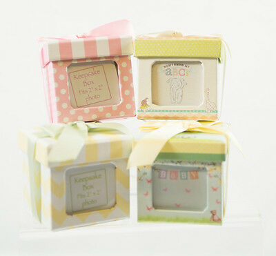 Baby Keepsake Photo Boxes Choice of 4 - 3 in sq. w/ Lid & Ribbon Boy Girl Gift