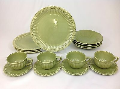American Atelier Athena Sage 16-Piece Set for FOUR Cups Bowls Dinner Plates