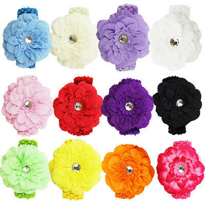 12 PC Baby Girl Toddler Kids Flower Pearl Elastic Headbands Headwear Accessories