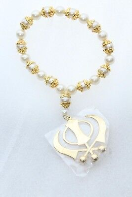 Designer Gold Plated Car Hanging Khanda With White Pearls & Golden Capping