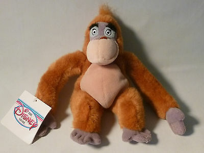"Jungle Book 8"" Baboon King Louie bean bag plush toy Disney new with tags LOOK"