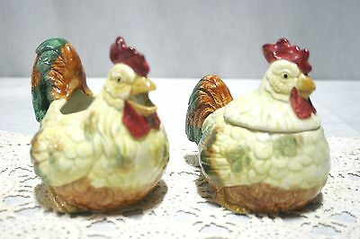 Vintage 1987 Fitz and Floyd Rooster (Chicken?) Creamer and covered sugar. MINT!