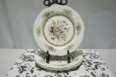 """LOT of Four Wood & Sons Rosedale Brown Rope Edge 10"""" Dinner Plates"""