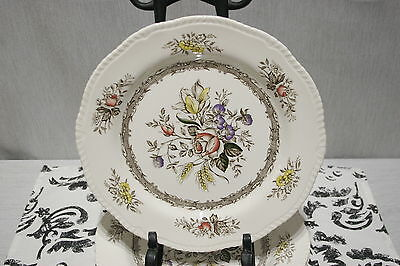 """LOT of Four Wood & Sons Rosedale Brown Rope Edge 10"""" Dinner Plates EXC!"""