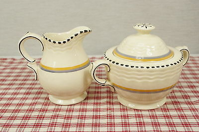 Antique Adams Titian Ware Creamer and Covered Sugar Blue Gold Bands, Black Edge
