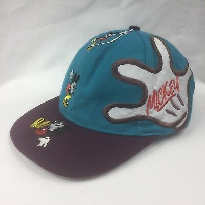 Vintage 1990's Mickey Mouse Snap Back Cap Hat Disney Licenced Embroidered EUC